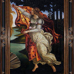 """overstockArt.com - Botticelli - Birth of Venus (right panel) - Botticelli's, Birth of Venus , was originally painted in 1486 inspired by the text in a Homeric hymn published in Florence in 1488 by the Greek refugee Demetrios Chalcondyles, """"Of august gold-wreathed and beautiful Aphrodite I shall sing to whose domain belong the battlements of all sea-loved Cyprus where, blown by the moist breath of Zephyros, she was carried over the waves of the resounding sea on soft foam. The gold-filleted Horae happily welcomed her and clothed her with heavenly raiment"""". Today it has been recreated in vibrant color and detail by hand using rich oils on canvas. Venus is an Italian Renaissance ideal: Blonde, pale-skinned, voluptuous. Botticelli has emphasized the femininity of her body (long neck, curvaceous figure). The brilliant light and soothing colors, the luxurious garden, the gorgeous draperies of the nymph, and the roses floating around the beautiful nude all suggest that the painting is meant to bring pleasure to the viewer. Make this painting a fanciful focal point in any room for family and guests to admire."""