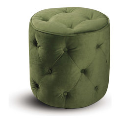 Office Star - Office Star Avenue Six Curves Tufted Round Ottoman in Spring Green Velvet Fabric - Add style and sophistication to any room with the curves tufted round ottoman. espresso finished wood legs with easy care fabric top complement any home decor.