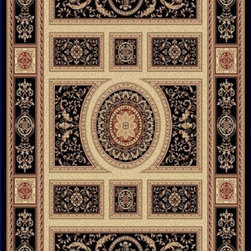 "Dynamic Rugs - Dynamic Rugs Rug, Black, 2'x3' 6"" - The Legacy Collection by Dynamic Rugs features persian styled rugs with 800,000 points with traditional colors."