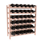 36 Bottle Stackable Wine Rack in Redwood with White Wash Stain + Satin Finish - A pair of discounted wine racks allow double wine storage at a low price. This rack accommodates all 750ml bottles, Pinots and Champagnes. The quintessential DIY wine rack kit. Your satisfaction is guaranteed.