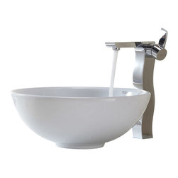 Kraus - Kraus C-KCV-141-14600CH White Round Ceramic Sink and Sonus Faucet - Add a touch of elegance to your bathroom with a ceramic sink combo from Kraus