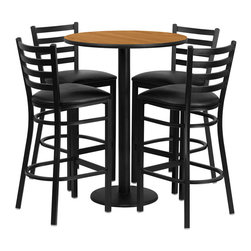 "Flash Furniture - 30'' Round Natural Table Set with 4 Ladder Back Bar Stools - Black Vinyl Seat - 30"" Round Natural Laminate Table Set with 4 Ladder Back Metal Bar Stools - Black Vinyl Seat. Round Table and Metal Restaurant Bar Stool Set; Set Includes 4 Bar Stools, Round Table Top and Round Base; Metal Restaurant Bar Stool; Ladder Style Back; Black Vinyl Upholstered Seat; 2.5"" Thick 1.4 Density Foam Padded Seat; CA117 Fire Retardant Foam; 18 Gauge Steel Frame; Welded Joint Assembly; Two Curved Support Bars; Foot Rest Rung; Black Powder Coated Frame Finish; Plastic Floor Glides; Lightweight Design; Designed for Commercial Use; Suitable for Home Use; Overall Size: 17""W x 18""D x 42.25""H; Seat Size: 16.75""W x 16.5""D x 31""H; Back Size: 15""W x 12""H; Restaurant/Banquet Table Top; 1.125"" Thick Round Top; Overall dimensions: 30""W x 30""D x 42""H"