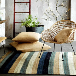 Camper Hemp Rug - Shades of sea and sand stripe our heavy-weight hemp rug.  With cool blues and warm cream and tan tones, these rugs are a handsome addition to any room.