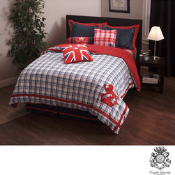 English Laundry - English Laundry Stock Port King-size 3-piece Duvet Cover Set - Showcase your British pride and give your bed a facelift with this stylish plaid king-size duvet cover set. This three-piece duvet set comes with one cover and two shams and features jacquard construction for soft comfort and long-lasting good looks.