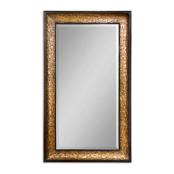 """Capiz Shell Mirror - This Oversized Mirror Features A Heavily Antiqued Capiz Shell Frame With Metal Rope Details. Mirror Has A Generous 1 1/4"""" Bevel."""