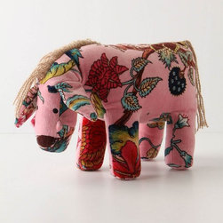 """Looking For A Friend Horse - We're biting on our knuckles at how much we love this little guy. Demure and shy, he adds a pop of color to a nursery or kid's bed--looking for a friend to love him. Snuggle up to this velvet buddy, or enjoy him on a dresser top.Dimensions: 8""""H, 10.5""""W"""