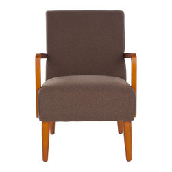 Safavieh - Wiley Arm Chair - Brown - A Danish cool vibe infuses the Wiley arm chair, shown in brown textured fabric evocative of Madison Avenue office chairs circa 1950. Simple turned-wood legs and bent armrests are crafted from birch and finished in natural oak.