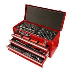 "North American Tool - 118 Piece Tool Chest Kit - Solid steel, heavy-duty construction; unit is equipped with 118 of the most commonly used tools and accessories in custom formed tool specific organizers for ultimate storage and quick access; tool kit includes: Hex Key wrenches; 12 oz. Claw Hammer; 10' M  easuring tape; 6"" Long nose pliers; 9"" Torpedo level; Twist drills; Masonry bits; Wood working drills; 8"" Adjustable wrench; Screwdrivers; Magnetic Bit holder; Ratchet wrenches: 1/4"", 3/8"" and 1/2""; 3/8"" Spark plug sockets; 2 Extension bars; Drive sockets  : 1/4"", 3/8"" and 1/2""; Screwdriver bits: 25mm and 50mm; 18mm Zinc Alloy Knife; 10"" Groove Joint pliers and 6"" Lock Grip pliers; Ball bearings keep the drawers operating smoothly and minimizes wear and tear.          This item cannot be shipped to APO/FPO addresses.  Please accept our apologies"