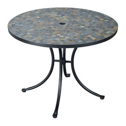 Home Styles Mosaic Outdoor Dining Table - Stone Harbor - As fetching as it is functional the Home Styles Mosaic Outdoor Dining Table is just what you need to dine or entertain in style. Offering a choice of beautiful mosaic patterns in colors that will flatter any setting this table makes a great addition not only to your al fresco dining area but to your sunroom or indoor dining space as well. The table which is large enough for four place settings also has an umbrella hole that will support a standard patio umbrella for some much-needed shade on particularly hot days or if you prefer sitting in the sun can be covered with the included black cap for a continuous surface. Made from black-finished powder-coated steel the gracefully curved cabriole-style legs are as sturdy as they are elegant while adjustable nylon glides prevent damage to your floor and provide stability on uneven surfaces. Additional Information: Comfortably seats 4 people Features umbrella hole that will support a standard patio umbrella Easy assembly required Additional Information on Mosaic Options: The Stone Harbor dining table top is constructed of small square slate tiles in a naturally occurring gray variation The Del Mar dining table top is constructed of small square and triangular black and gray tiles in a ringed pattern The Valencia dining table top is constructed of small square and triangular terra cotta tiles with river stone in a ringed pattern Please Note: We recommend storing or at the very least covering mosaic table tops in areas that experience freezing conditions. If left outdoors the grout can absorb water which will expand when it freezes leading to cracks. About Home StylesHome Styles is a manufacturer and distributor of RTA (ready to assemble) furniture perfectly suited to today's lifestyles. Blending attractive design with modern functionality their furniture collections span many styles from timeless traditional to cutting-edge contemporary. The great difference between Home Styles and many other RTA furniture manufacturers is that Home Styles pieces feature hardwood construction and quality hardware that stand up to years of use. When shopping for convenient durable items for the home look to Home Styles. You'll appreciate the value.