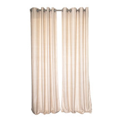 "Uchit - Uchit™ Handcrafted Viscose Curtain Panel in Soft Latte, 48"" X 96"" - Our luxuriously soft viscose curtains is handwoven on a traditional wooden loom by an artisan in India. Hand dyed with low-impact dyes. Our heaviest curtain is unlined with a grommet top."
