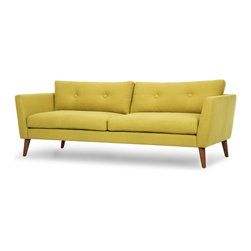 Bryght - Emil Moss Sofa - A modern spin on the classic button tufted sofa with flared arms, the Emil comes in 3 color options of Gray, Brown and Moss