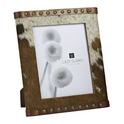 "Lazy Susan - Lazy Susan Caramel Faux Pony Frame - Decorate with the chic combination of animal print and leather on the Caramel Faux Pony frame. Adorned with silver studs, this Lazy Susan frame surrounds photo memories with rustic beauty. 8"" x 10""; Hair-on cowhide and genuine leather"