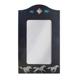 "Ironwood - Wrought Iron Mirror Wild Horse 30"" with Rust Patina - Western  wall  mirror  handcrafted  from  iron  with  burnished  details  of  wild  horses.  Also  includes  inlaid  turquoise  stones  and  a  polished  desert  diamond  medallion."