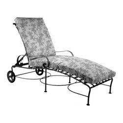 O.W. Lee Classico Wrought Iron Chaise Lounge - Take time to fully enjoy summer while relaxing in the O.W. Lee Classico Chaise Lounge. Designed with your comfort in mind, this chaise lounge features an adjustable back as well as wheels that allow you to follow or chase the sun at your leisure. Beautifully designed from handcrafted wrought iron, this chaise lounge is rich in Old World craftsmanship and brings style, comfort, and tranquility to your home. The basket weave design and gently curving armrests adds a graceful elegance to your patio decor. Made for comfort, this chaise lounge comes with your choice of Sunbrella cushions so you can easily complement your patio furniture. Sunbrella cushions are fade-, mildew-, stain-, and water-resistant and come with a five year warranty. You'll love spending time outdoors reading, working on your laptop, or even taking a quick nap surrounded by the calming sounds of nature.Please note: This piece will be delivered with White Glove service which includes location placement. Unpacking and assembling the item will be left to the customer. Due to the custom-made nature of this item, orders usually ship within approximately 5 weeks. Because each item is assembled just for you, orders cannot be cancelled. A 50% restocking fee will apply for returns.This item is custom-made to order, which means production begins immediately upon receipt of each order. Because of this, cancellations must be made via telephone to 1-800-351-5699 within 24 hours of order placement. Emails are currently not acceptable forms of cancellation. Thank you in advance for your consideration in this matter.Materials and construction:Only the highest quality materials are used in the production of O.W. Lee Company's furniture. Carbon steel, galvanized steel, and 6061 alloy aluminum is meticulously chosen for superior strength as well as rust and corrosion resistance. All materials are individually measured and precision cut to ensure a smooth, and accurate fit. Steel and aluminum pieces are bent into perfect shapes, then hand-forged with a hammer and anvil, a process unchanged since blacksmiths in the middle ages.For the optimum strength of each piece, a full-circumference weld is applied wherever metal components intersect. This type of weld works to eliminate the possibility of moisture making its way into tube interiors or in a crevasse. The full-circumference weld guards against rust and corrosion. Finally, all welds are ground and sanded to create a seamless transition from one component to another.Each frame is blasted with tiny steel particles to remove dirt and oil from the manufacturing process, which is then followed by a 5-step wash and chemical treatment, resulting in the best possible surface for the final finish. A hand-applied zinc-rich epoxy primer is used to create a protective undercoat against oxidation. This prohibits rust from spreading and helps protect the final finish. Finally, a durable polyurethane top coating is hand-applied, and oven-cured to ensure a long lasting finish.About SunbrellaSunbrella has been the leader in performance fabrics for over 45 years. Impeccable quality, sophisticated styling and best-in-class warranties prove the new generation of Sunbrella offers more possibilities than ever. Sunbrella fabrics are breathable and water-repellant. If kept dry, they will not support the growth of mildew as natural fibers will. Beautiful and durable, Sunbrella is a name you can trust in your outdoor furniture.About O.W. Lee CompanyAn American family tradition, O.W. Lee Company has been dedicated to the design and production of fine, handcrafted casual furniture for over 60 years. From their manufacturing facility in Ontario, California, the O.W. Lee artisans combine centuries-old techniques with state-of-the-art equipment to produce beautiful casual furniture. What started in 1947 as a wrought-iron gate manufacturer for the luxurious estates of Southern California has evolved, three generations later, into a well-known and reputable manufacturer in the ever-growing casual furniture industry.