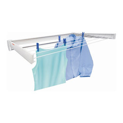 "Household Essentials - Laundry Drying Rack - 28""W X 4.125""H X 3""D - Our wall mounted telegant clothes drying rack folds flat for use as a towel bar between laundry days. Its one of our most popular items. Sure its great for sweaters fine lingerie and stockings but how about using it for drying hats and gloves at the back door or bathing suits near the pool? The arms and back are made of ABS plastic. The rods are epoxy-coated steel. The unit is fully coated so you could even install it in bath for handy drying of fine washables. Telefix 70: 28""W x 1-7/8""D x 4-1/8""H/ Pulls out to 14-1/2"" (item 83250 and 83201)Telefix 100: 40Wx3D x 5H/ Pulls out to 24.75"" (item 83150 and 83100)"