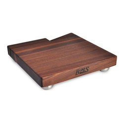 John Boos - John Boos Walnut Cheese Board with Knife Slots & Steel Feet - Black Walnut cheese board with slotted knife holder to keep knives handy, yet safely set aside. Stainless Steel bun feet. 12x12x1.5 in. thick. WAL-B12S-H-3