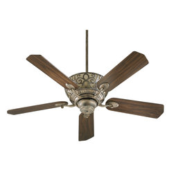 "Quorum Lighting - Quorum Lighting Cimarron 52"" Traditional Ceiling Fan X-85-52596 - This Quorum Lighting ceiling fan features an incorporated light with beautiful scroll overlay detailing, which pops against the light tones of the glass backdrop. From the Cimarron Collection, this traditional ceiling fan also features elegant scrolled arms and multiple finish options."