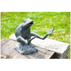 """Leaping Garden Frog - Whimsy and charm are never out of place in your garden. Crafted in aluminum. 10 1/2""""H, 11""""W, 10""""D."""