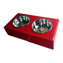 the Minimalist Feeder : modern dog bowl, Blood Red - Modern minimalist design. Blood red acrylic frame in a high-gloss finish. Removable stainless steel bowls, 2.5 cup capacity. Designed for cats and small to medium-sized dogs.