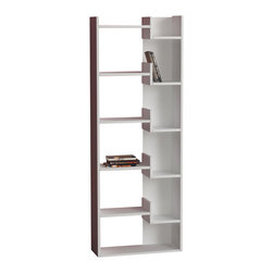 Decortie - Oppa Bookcase by Decortie, White - White - The perfect blend of contemporary style and modern practicality, this Book Shelf is beautifully unique in design. It features various shelves and a contrast back to one side, creating ample space to display your books, literature, art and decorative pieces.