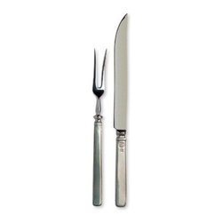 Match Pewter - Gabriella Carving Set by Match Pewter - In a world dominated by mass production, Match pewter is handmade by artisans in Northern Italy. Each piece bears a stamped symbol from the region in which it was made.
