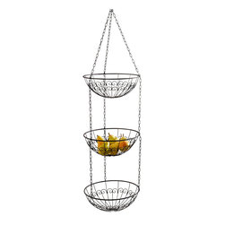 "Pier Surplus - 3-Tier Hanging Basket (3x12""Dia Fruit Bowls) Vine Pattern - Dark Brown #HD229136 - Made of strong wire with subtal vine pattern in a modern dark brown finish, this 3 tiered hanging basket saves precious floor space while providing neat organization for fruits, vegetables, towels, or anything you feel like. It adds style and storage instantly to your kitchen, bath, laundry, or ANYWHERE in the home. Each basket is 12"" Dia., 45"" overall hanging length."