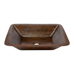 Premier Copper Products - Rectangle Under Counter Copper Bathroom Sink - Uncompromising quality, beauty, and functionality make up this Premier Rectangular Hammered Copper Bathroom Sink.