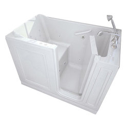 American Standard - American Standard 3051.114.CRW Walk-In Combination Tub,  White - American Standard 3051.114.CRW Walk-In Combination Tub,  White. This walk-in combo tub features an acrylic construction with fiberglass reinforcement, a watertight door system with patented aluminum frame, a built-in chair height seat and color matched grab bar, a textured tub floor, a color-matched waste and overflow, and a free-standing metal support frame. This model features a right-hand drain mount.