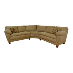 Chelsea Home - Amanda 2-Pc Sectional Sofa in Bulldozer Mocha - Includes toss pillows. Seating comfort: Medium. Hardwood frame and engineered wood products. Seat cushion is attached. Seat back cushion is attached. Seat cushion is not reversible. No sag sinuous spring system used to maintain a uniform seating area. Dacron wrapped 1.5 density foam cushions. Made from polyester blend and solid kiln dried hardwood. Bulldozer mocha color. Made in USA. No assembly required. 73 in. L x 35 in. W x 38 in. H (270 lbs.)