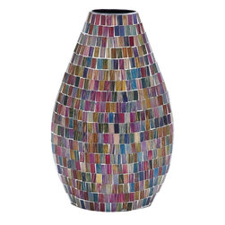 "Benzara - Vase Vivacious Design in Smooth Slick Finish - This elegant Metal Glass Vase brings together functionality and finesse with its charming, vivacious design. Adorned with multicolored glass pieces in a stunning mosaic pattern, the vase boasts of a youthful, vibrant appeal. The smooth, slick finish adds a touch of glamour to the design and lends a hint of finesse to augment decor aesthetics. This elegant vase can be displayed on shelves, mantelpieces, side-tables or chests. Ideal for all modern and contemporary-casual setups, it enhances decor aesthetics with its attractive design. Crafted from premium grade metal, this vase promises hassle-free usage and unmatched durability. With its versatile appeal and exotic design, it makes for a perfect addition to all contemporary-casual decor spaces. This chic-looking vase is also a wonderful gift for loved ones during special occasions like birthdays, house-warming or other occasions.; Adorned with multicolored glass pieces; Lends a hint of finesse to augment decor aesthetics; Ideal for all modern and contemporary-casual setups; Vase flaunts a tapering, spindle-like design; Weight: 63.96 lbs; Dimensions:10""W x 4""D x 15""H"