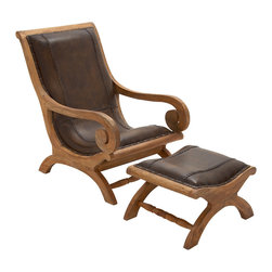 Timeless Wood Leather Chair Ottoman, Set of 2 - Description: