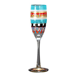 Golden Hill Studio - Mosaic Carnival Champagne Glass - Cheers! The joyful artwork on these hand-painted champagne glasses is as delicate and effervescent as your chosen bubbly. And since each glass is made in the United States, each one is also a toast to American craftsmanship.