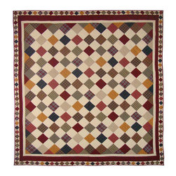 Patch Quilts - Rustic Cabin Quilt Twin 65 x 85 - - Intricate  patchwork and beautiful hand quilting.Bedding ensemble from Patch Magic  - The Name for the finest quality quilts and accessories  - Machine washable.Line or Flat dry only  - 100% Cotton Patch Quilts - QTRUSC