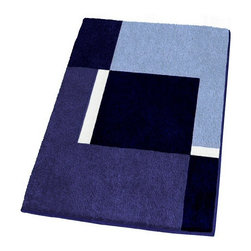 Contemporary Machine Washable Blue Bathroom Rugs, Small - Modern non-slip bathroom rug with a thick and densely woven .79in high pile.  Our small blue bathroom rug is machine washable and offers a striking geometric pattern with dark blue, medium tone blue, light blue and white range of colors.  Designed and produced in Germany