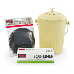 Bambeco Bamboo Fiber Compost Set - Double your eco-power with our Bamboo Fiber Compost Set, made from one of the world's most sustainable plants. Ideal for kitchen countertops, it's perfect for cooking waste and table scraps. A secure lid, replaceable, odor-fighting charcoal filter and all-natural, cornstarch liners keep household composting fresh and simple.Set includes Bamboo Fiber Compost Bin, Eco Compost Liners, and a set of two charcoal Compost Filters.  Dimensions: Compost Bin—7W x 11.5H; Liners—14.125W x 15 H. Care: Handwash bin with mild soap and water.  Save 10% by buying the bundled set vs. individual items.