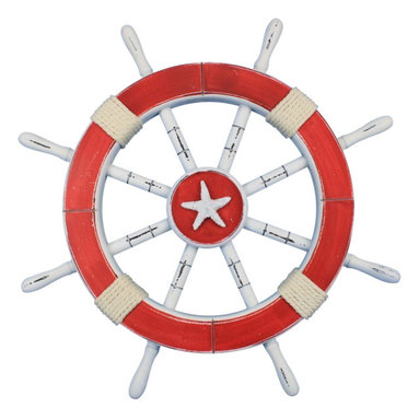 """Handcrafted Model Ships - Rustic Red Ship Wheel with Starfish 18"""" - Nautical Theme - This Rustic Red Ship Wheel with Anchor 18"""" combines a vintage finish with a delightful starfish decoration to create a timeless piece of nautical wall art. Using a bold nautical red and white, we have further accented the vintage ship wheel with rope."""