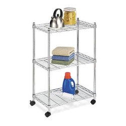 Whitmor - Supreme 3 Tier Cart - This sturdy rolling cart is a handy helper almost anywhere in your house. Use it in your kitchen for serving meals or for storing your mixer bread machine and pots and pans. It holds computer equipment in the office towels in the bathroom or tools in the garage. Made of heavy duty chrome plated steel this cart can hold up to 250 lbs. It's very stable and built to last and it has 3 shelves with raised sides to prevent items from rolling off. Includes rolling casters.