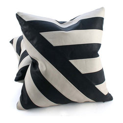Pfeifer Studio - Black and White Leather Pillow, Diagonal Lines, 16x16 - The simplicity of black and white leather brings out the graphic geometric patterns in these statement-making cushions. Choose from two styles; Diagonal Lines or Four Quadrants. The pillows have a black leather back and are fitted with a medium-fill feather and down inner. Our pillows are each individually handmade-to-order using natural materials, each is considered unique and one-of-a-kind.