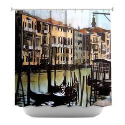 DiaNoche Designs - Shower Curtain Artistic - Views Over Venice - DiaNoche Designs works with artists from around the world to bring unique, artistic products to decorate all aspects of your home.  Our designer Shower Curtains will be the talk of every guest to visit your bathroom!  Our Shower Curtains have Sewn reinforced holes for curtain rings, Shower Curtain Rings Not Included.  Dye Sublimation printing adheres the ink to the material for long life and durability. Machine Wash upon arrival for maximum softness on cold and dry low.  Printed in USA.