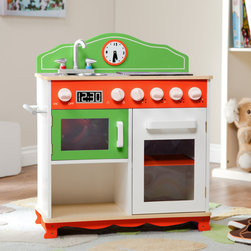MY LITTLE CHEF PLAY KITCHEN WITH ELECTRIC STOVE TOP - Help develop your children's responsibility and independence while playing, with Teamson's Interactive Stove! Hand carved and painted a lime green and tropical orange, made out of durable wood, this stove offers the perfect place for your little one to cook an imaginary dinner! Stove comes equipped with a sink, microwave, burner on top and storage space below to place groceries. Smartly placed knobs simulate temperature control of the oven and a handy clock controls the timer. Stove makes real sizzling sounds and lights up to show when a master piece is being created! Get your little chef into the kitchen and involved in all the fun! Food not included, perfect for ages 3 and up.