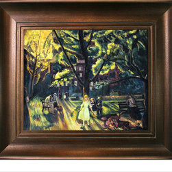 "overstockArt.com - Bellows - Gramercy Park, 1920 with Da Vinci - Aged Auburn Finish - 20"" X 24"" Oil Painting On Canvas Originally painted in 1920 George Wesley Bellows had a strong understanding of the relationship between light and dark. His painting, Gramercy Park reflects his technique of enhancing texture by using subtle contrasting to create depth within his work. Gramercy Park is a brief moment in the life of upper middle class residents enjoying and afternoon in the park. This piece of art will gracefully adorn any room of your home and be a conversation piece for years to come. ""...the most acclaimed American artists of his generation."" Columbus Museum of Art George Wesley Bellows (1882-1925) was an American painter who lived and produced most of his work at the start of the twentieth century. Known for bold depictions of urban life in New York City, Bellows captures American pastimes based on his love of athletics. Bellows' style mixes dark atmospheres with bright light and geometrical shapes with long brushstrokes giving his scenes a sense of perpetual, fluid motion. These hallmarks of his style allowed Bellows to depict the grittiness of American society, a popular movement amongst turn-of-the-century realist artists. Although boxing scenes are Bellows' major contribution to art history, he later cultivates a more refined style and develops his use of light and dark to characterize the griminess of urban life fueled by the political and social themes of his time. Frame Description: Golden Oak Leaf Frame - Distressed Gold Finish with an Oak Leaf Motif Framed painting size (not including frame): Classic 20"" X 24"" . Framed Oil reproduction of an original painting by George Wesley Bellows"