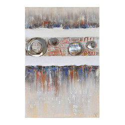 Ren-Wil - Ren-Wil OL910 Industrial Elegance I Vertical Canvas Wall Art by Giovanni Russo - Primary colors highlight the thick textures on this hand painted linen covered canvas and is highlighted with sheet metal accents textural letters and a contrasting neutral background.