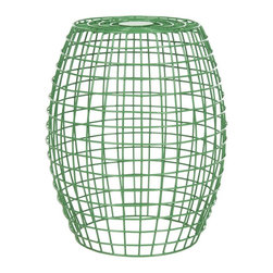 Safavieh - Eric Grid Stool - Inspired by the pop modern style of the 60s, the Eric grid stool by Safavieh boasts clean lines and sleek iron geometry. With its green finish and airy grid work, Eric is a modern classic that gives any room a whisper of contemporary style. Use this versatile piece in the living room, family room or home office as a handy side table or stool.