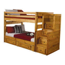 Adarn Inc. - Amber Wash Oak Solid Wood Full Over Full Bunk Bed Storage Drawers Stairway Chest - Create a fun and youthful look in your child's bedroom with this full over full bunk bed. The under-bed drawers includes two drawers for clothing, extra linens, toys, and miscellaneous items. Space saving designs continue with the staircase chest with four additional storage drawers! No need to worry about safety, for the durable full length guard rails will provide security. Whether your children share a room or you are looking for a refreshing, unique style, this bunk will make a wonderful addition to your home.