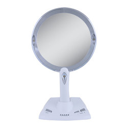 Zadro - Zadro Lighted 5X-1X Power Zoom Mirror-Pzv01 - The LED Lighted PowerZoom Mirror combines everything you love about your favorite lighted mirror, with a portable handheld design! The LED lighted, handheld mirror features an upright base that allows the mirror to function as a hands-free mirror! The patented PowerZoom technology seamlessly adjusts the mirror magnification (anywhere from 1x to 5x magnifications) to allows you to customize the magnification of the mirror to suit your unique needs and preferences.
