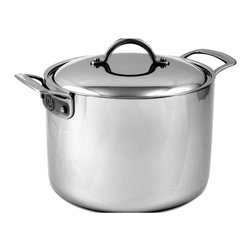 CIA - CIA Masters Collection 7-Ply Clad Copper - 8 Qt Stock Pot w/Cover - Stainless St - Orecchiette for eight? New Year's Eve lobster boil? Handle these types of recipes and many more with the Masters Collection® 8 Quart Stock Pot. The tall, straight sides concentrate heat and minimize liquid reduction, making it perfect for simmering stocks and soups, and boiling pasta, shellfish and vegetables. The pot is endlessly versatile when you use the Pasta/Colander Insert and the Steamer Insert for vegetables and fish. The Stock Pot features the unique professional 7-ply construction that is both exceedingly beautiful with its stainless steel surface and extremely well designed. Its pure copper and aluminum center delivers superior heat conductivity and cooking control.  Features  7-ply stainless clad construction with a pure copper center for quick and optimum heat distribution Brushed 18/10 stainless steel cooking surface is nonreactive and easy to clean Polished magnetic stainless steel exterior can be used on any cooking surface, including induction Cast stainless steel handles are easy to hold and are riveted for maximum durability Handles have an elegant contrasting brushed/polished finish and a channel for easy gripping Durable stainless steel rivets permanently secure handles to pan 18/10 stainless steel domed cover helps seal in moisture and is marked for easy size identification Lifetime warranty All product sales benefit The Culinary Institute of America Scholarship Fund