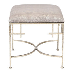Kathy Kuo Home - Limelight Hollywood Regency Taupe Shimmer Snakeskin Silver Stool Ottoman - Offer your friends and family luxurious comfort on this inviting, hammered silver ottoman. Faux snakeskin upholstery offers a sumptuous stool for your favorite chair in the library or living room. The curved framework adds an elegant accent to this opulent footrest.
