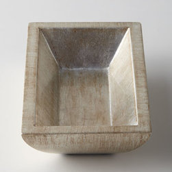 """Horchow - Soap Dish - Handcrafted via time-honored techniques, this collection features a silver-leaf lacquer finish that's applied by hand to composite wood. Pump dispenser, 3""""Dia. x 7""""T. Soap dish, 6.5"""" x 4""""D x 1.5""""T. Tray, 18""""W x 7.25""""D x 0.75""""T. Wastebasket, 11""""..."""