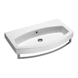 GSI - Luxury Wall Mounted, Vessel, or Self Rimming Bathroom Sink, No Faucet Holes - This luxury curved rectangular bathroom sink can be installed and used as a wall mounted, vessel, or self rimming sink. Made of high quality ceramic finished in white. Sink includes overflow and has the option for no faucet holes, a single hole, or three holes. Made in Italy by GSI.