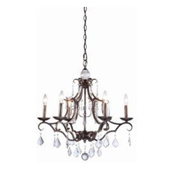 ArtCraft - ArtCraft-CL1576DB-Vintage - Six Light Chandelier - Classics never go out of style by definition. The Vintage collection is no exception. An instant classic. Crystal jewels flow from the arms and frame making this a masterpiece. Shown in Dark Brown (available in Antique White finish as well).
